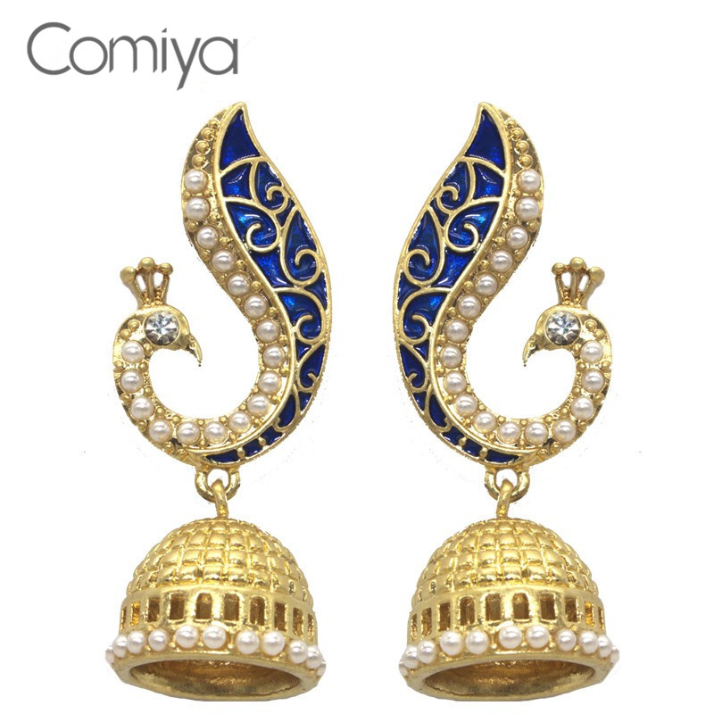 comiya gold pearl blue peacock drop earrings for women