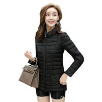 Winter Women Down Cotton Short Jacket Outwear Tops Female Casual Pockets Slim Ultra Light Cotton Padded Parka Coat Overcoat O383
