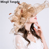 Organza and Fascinator Wedding Hats for Women Elegant Weddings Flower Hats chapeau de mariage Wedding Accessories Mingli Tengda