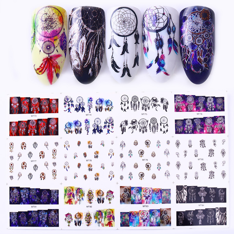 1 Big Sheet Dream Catcher Series Nail Water Decal Feather Transfer Sticker Manicure DIY Nail Art Decoration 12 Patterns/Lot 1 sheet beautiful nail water transfer stickers flower art decal decoration manicure tip design diy nail art accessories xf1408