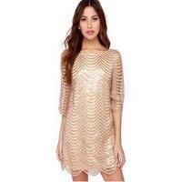 Châu âu Và Hoa Kỳ New Nửa Tay Áo Loose Vàng Sequin Dress Clubwear KLY1803