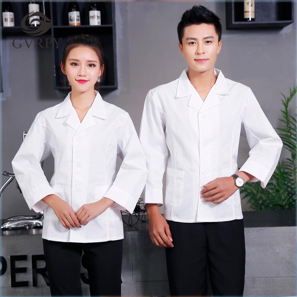 New Arrival Long Sleeve Men Women White Suit Collar V-Neck Chef Uniform Coffee Shop Bakery Hotel Waiter Work Uniform Chef Jacket