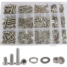 M4 M5 M6 Phillips Pan Round Head Machine Screw Metric Thread Cross Bolt Nut Flat Lock Washer Assortment Kit Set Stainless Steel