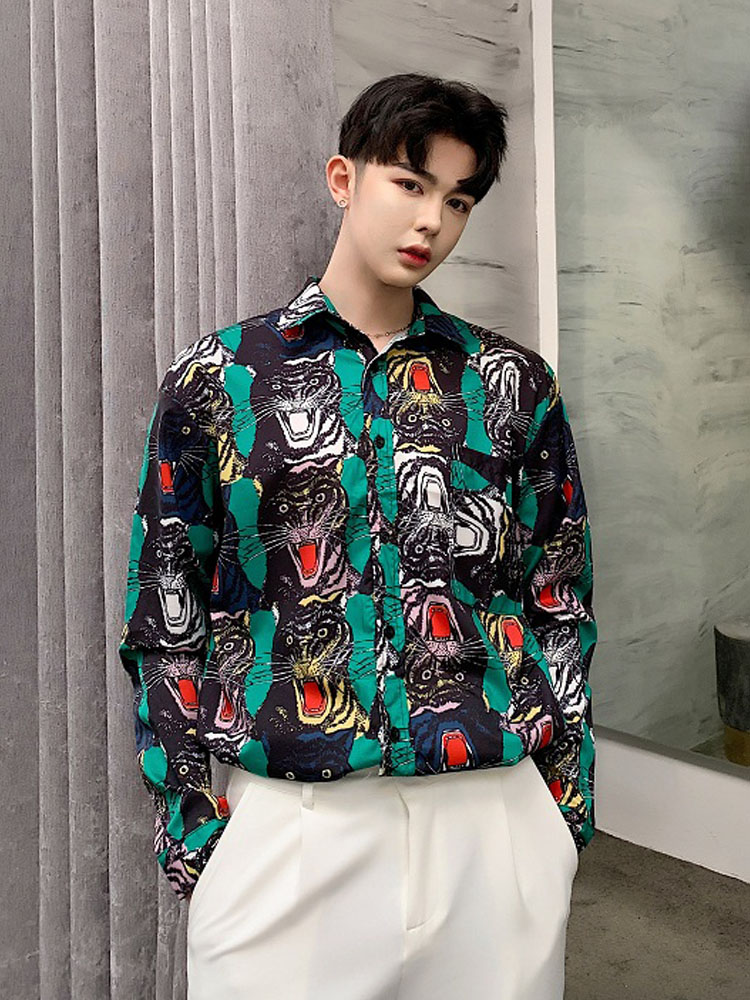2019 New Men Fashion Tiger Head Print Casual Long Sleeve Shirt Male Vintage Loose Dress Shirts Streetwear Hip Hop Stage Clothing-in Casual Shirts from Men's Clothing    1