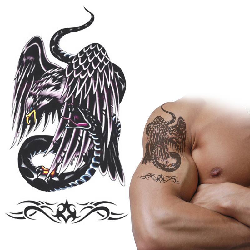 Orzeł Vs Wąż Tymczasowy Tatuaż Naklejki Wodoodporna Czarny