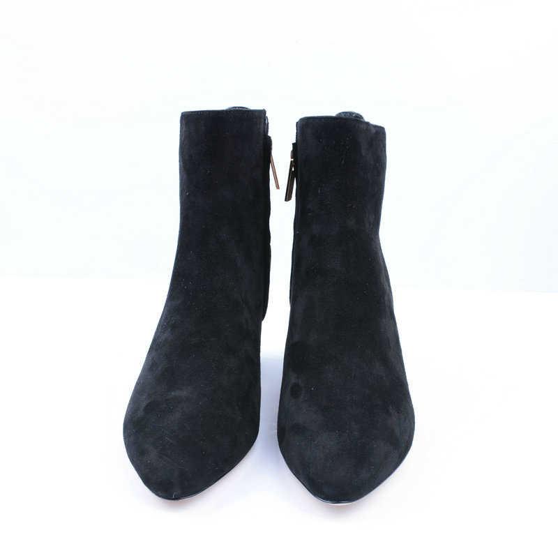 UMMEWALO/женские ботинки; замшевые ботинки на высоком каблуке; женская повседневная обувь; сезон осень-зима; качественные ботинки с острым носком; botines mujer