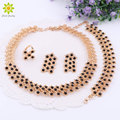 African Beads Black Crystal Necklace Earrings Rings Bracelet Jewelry Sets For Women Gold Plated Wedding Accessories