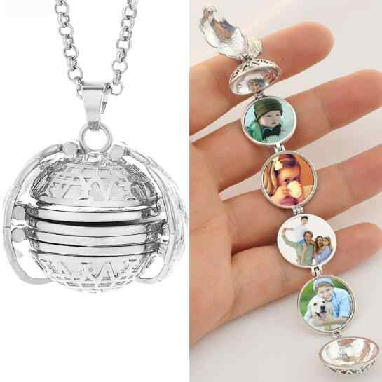 High Quality Magic 4 Photo Wings Pendant Memory Floating Locket Necklace Angel Diffuser Fashion Album Box Necklaces 18'' Chain