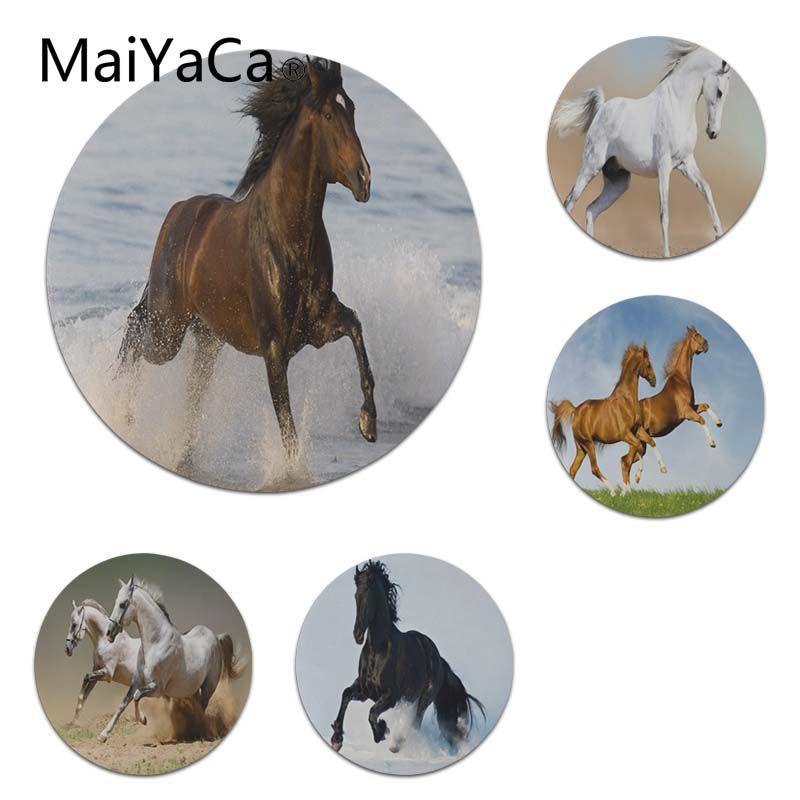 MaiYaCa Wild horse running DIY Design Pattern Game Lockedge mousepad Size for 22X22cm Round Gaming Mousepads