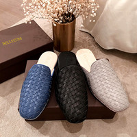BELLECOM New 2019 summer fashion braided leather flat bottom semi slippers baotou loungers wear slippers outside