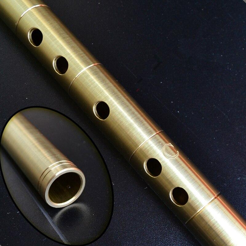 Laiton Métal Flûte Dizi C D E F G Clé Métal Flauta Profesional Flûte Traversière Instrument de musique Auto-défense arme Flauta