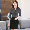 S-4XL New Women's Business Skirt Suits Summer 2016 Fashion Elegant Office Ladies Strspe Shirt Slim OL Work Wear Skirt Set Female