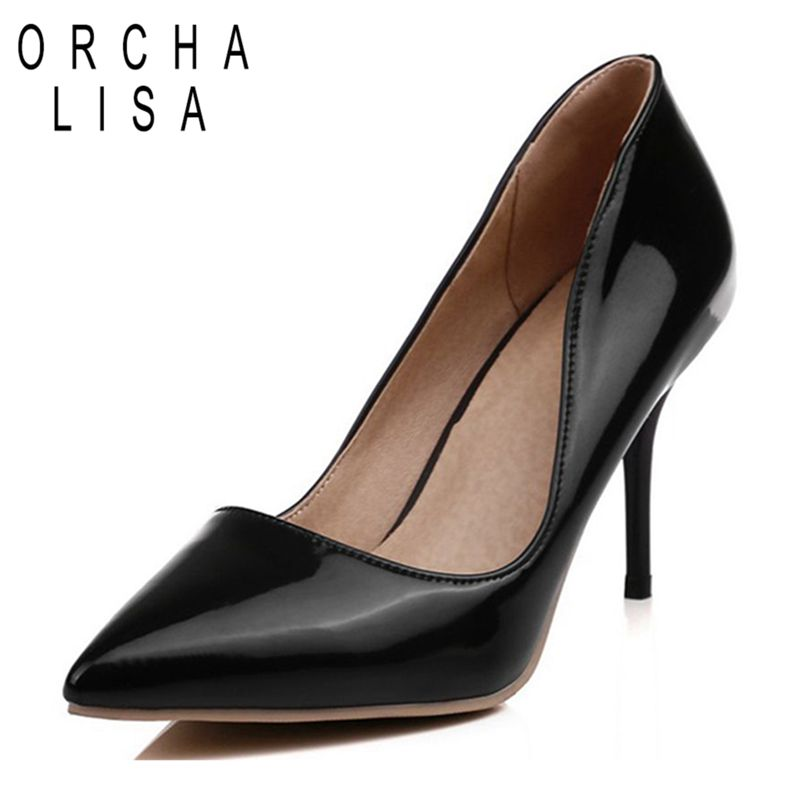 9c971bb91c9d ORCHA LISA Women High Heels Shoes Female Party Office Lady Pumps Solid Pure  Color Thin Heels