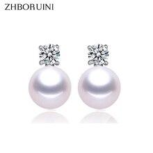 ZHBORUINI Fashion Pearl Earrings For Women Jewelry Of Silver Freshwater Pearl With Princess Style Silver Earring Wedding Jewelry