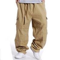 2018 Spring Casual pants Men's Multi pocket Loose Large size Overalls Men's Pocket Wide Leg trousers More size S XXL XXXL