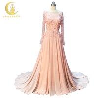 Лидер продаж Реальный образец изображения Рейн одежда с длинным рукавом ню розовый Кристалл открытой спиной шифон line Мода Fromal Платья для вы