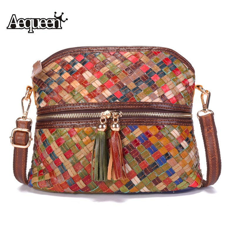 AEQUEEN Weaving Genuine Leather Shell Bag Women Casual Crossbody Bags Small Purse Lady Messenger Sling Bag Tassel Bolsa Feminina j m d crazy horse leather women flap messenger bag casual sling bag small lady purse c005b