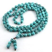 Joyas Bohemias de Largo anudado azul, budismo tibetano, 108, cabezas de calavera de hueso, collar de cuentas de oración Mala, envío gratis