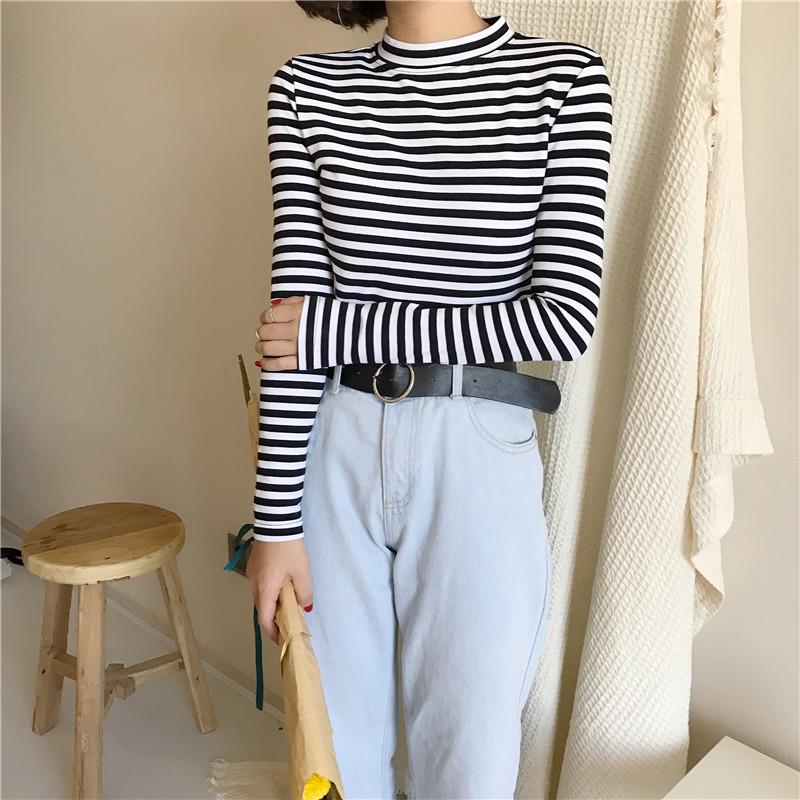 19 Korean Style Long Sleeve T Shirts Women New Hot Sale Student T-shirt Womens Fashion Harajuku Striped Female Slim Femme Lady 13