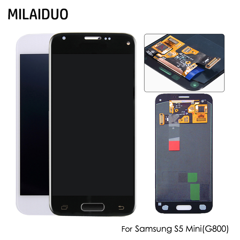 AMOLED LCD For <font><b>Samsung</b></font> Galaxy S5 Mini G800 <font><b>G800F</b></font> G800H OLED LCD <font><b>Display</b></font> Touch Screen Digitizer Assembly Replacement Black White image