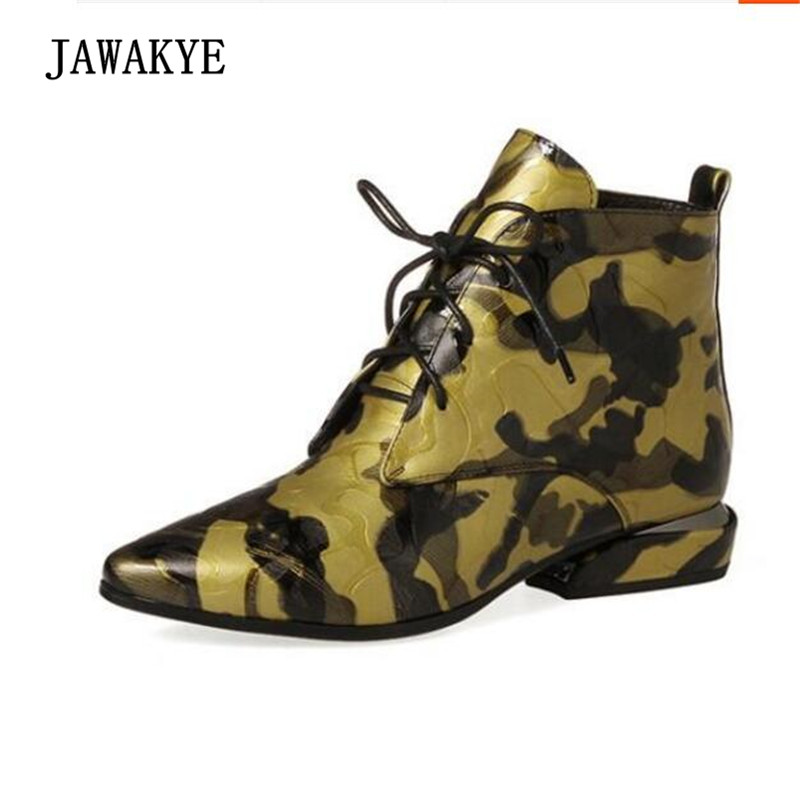 British Style Leopard Ankle Boots Woman Pointed Toe Lace-up Strange Low Heel Martin Boots Women цена 2017