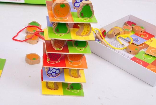 60 шт. детские деревянные фрукты сваи башня Блок игрушки/дерево баланс блоки для детей и обучения ребенка развивающие игрушки, 1 компл./упак.