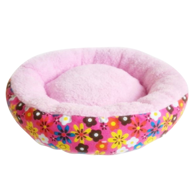 Pet Cat Dog Bed Warm Nest with Colorful dot flower Printing Round Indoor Dogs Cat House image
