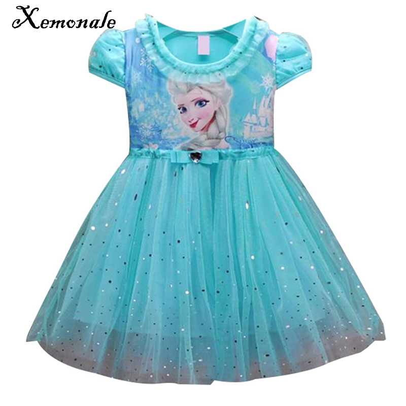 Xemonale Lace Sequins Princess Anna Elsa Dress Snow Queen Halloween Party Role-play Costume Dress Summer Toddler Girls Clothes