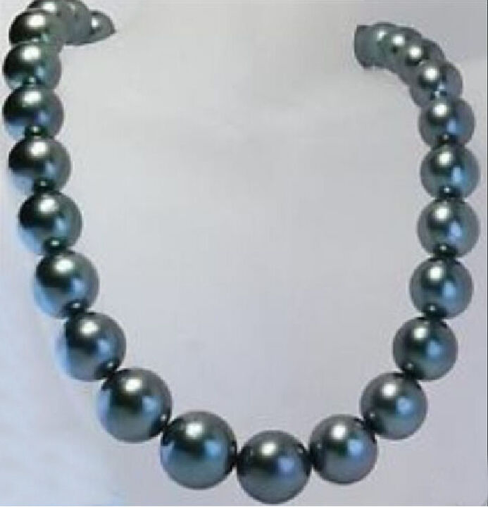 Free Shipping REAL NATURAL 18 AAA+ 11-12MM TAHTIAN BLACK PEARL NECKLACE 14KGP WHITE CLASP a()