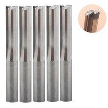5 개/몫 6*32mm 2 플루트 스트레이트 라우터 비트 나무 cnc 스트레이트 조각 커터 초경 엔드 밀 절단 밀