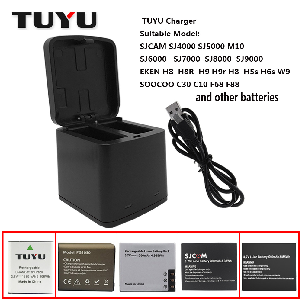 TUYU Mountain Dog Camera Accessories Dual charger SJCAM sj4000 Dual charger EKENH9 H8r Sports Camera Battery USB Dual Charger St