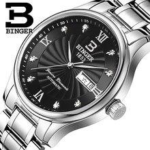 f78b17fee50 Genuine Luxo Marca Suíça BINGER Homens mecânico automático do relógio de  aço cheio de safira à