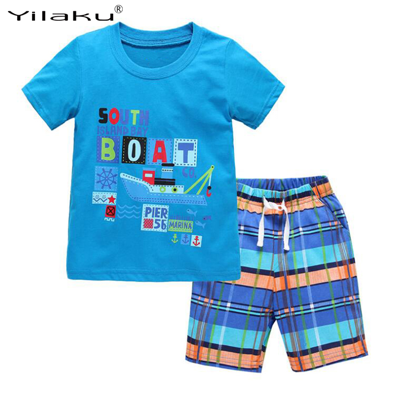 Yilaku Boy Clothing Sets Summer Boys Clothes Children Clothing T-shirt+Shorts Kids Clothes Toddler Boy Outfits Sport Suits CF462
