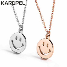 New Trendy Transfer Good Luck smiley face expression Pendant Necklace With chain for Women Mother Gift Jewelry bijoux femme(China)