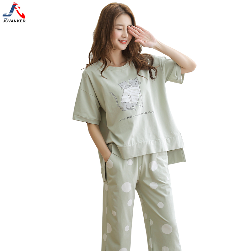 JCVANKER 2018 New Arrival Summer Women Pajamas Set For Female Animal Odd Double Cat Pattern Pyjamas Suit Pants Home Sleepwear