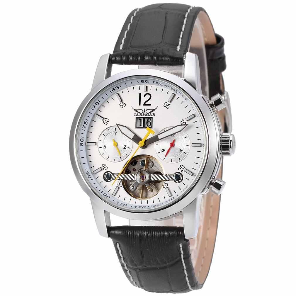 Jaragarファッションレザーストラップトゥールビヨン腕時計男性クリスタル6手自動高級機械式メンズ腕時計で日ウィークギフト