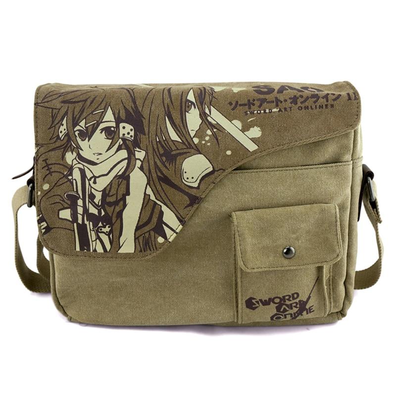 Anime Cosplay Sword Art Oneline Canvas Satchels Students Messenger Shoulder Bag SAO Sling Bag Laptop Schoolbags
