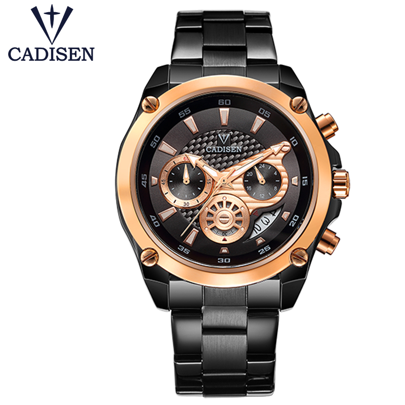 Top Brand Luxury CADISEN Mens Watch Full Steel Sport Watches Fashion Quartz Military Wrist Watch Relogio Masculino Waterproof цена