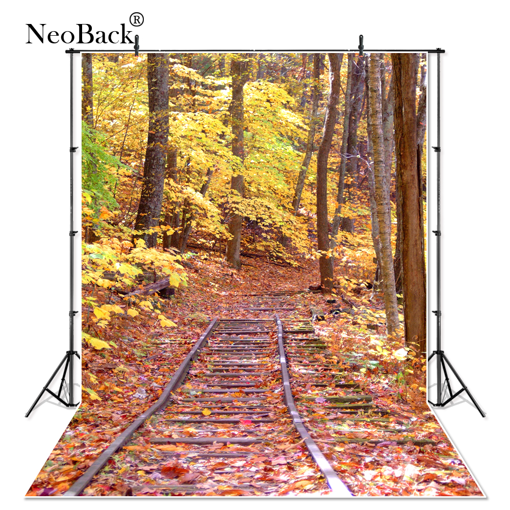 NeoBack Golden Fall Scenic Forest View Photo Background Printed Autumn Forest Railway Maple Tree Photo Wedding Backdrops P0683
