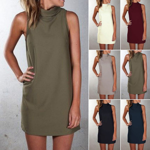 New 2019 Summer Dress 5XL Large Size High-necked Sleeveless Casual Dress Plus Size Women Clothing Party Dresses Vestidos