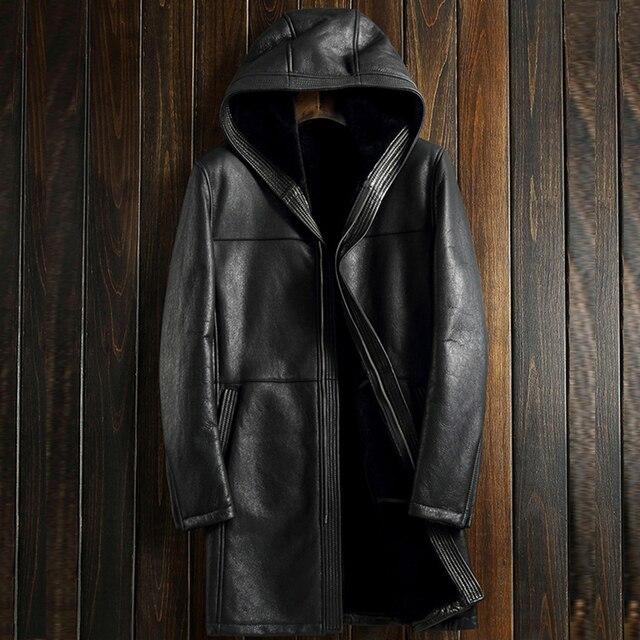 Uomo Giacca Uomo di Nero In Coat Pelle Agnello Shearling Genuino aqrnwESRa6
