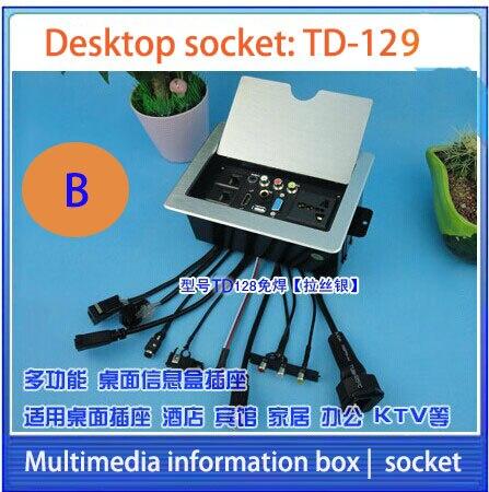 HD HDMI prise De Table/caché/d'information multimédia boîte de sortie/MIC RJ45 vidéo Audio VGA USB interface de bureau prise F-128
