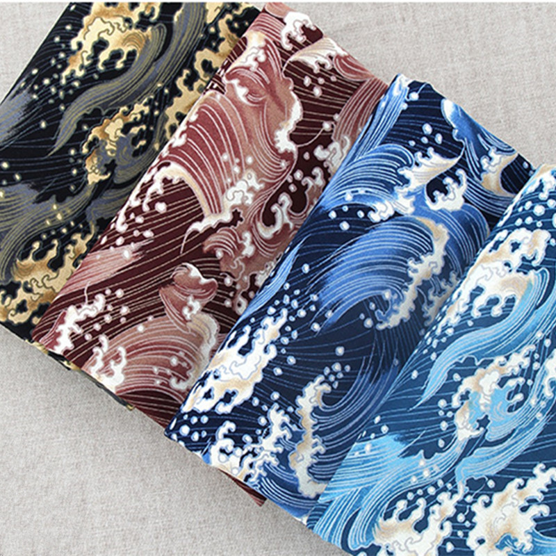 Japan Style DIY Cotton Linen Fabric for Home Decor Cushion Covers Ukiyoe Ocean Wave Prints Blue Color Cloth Fabric