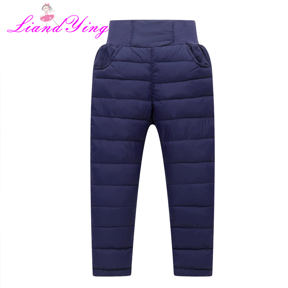 Casual Girl Boy Winter Pants Cotton Padded Thick Warm Trousers Waterproof Ski Pants 2-12Years Elastic High Waisted Baby Kid Pant