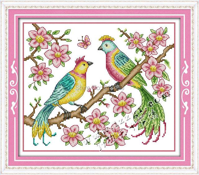 New Diy Needlework Love Birds Design For Youfree Dmc Counted Cross