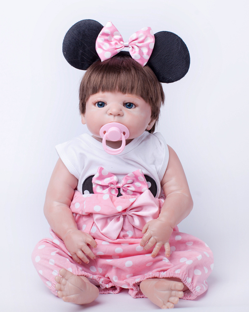 55cm Full Body Silicone Reborn Baby Doll Toys Play House