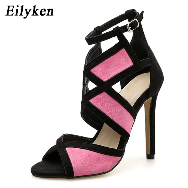 Eilyken New Desiger Sexy Women Sandals Hollow out Buckle Strap High Heels Bridesmaid Bridal Wedding Pumps Sandals size 35-40