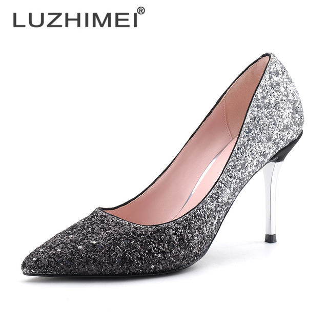 Sexy Gradient Color Shoes 9.5 Cm Thin High Heel Wedding Comfor Ladies Elegant Female Fashion Party Shoes 3