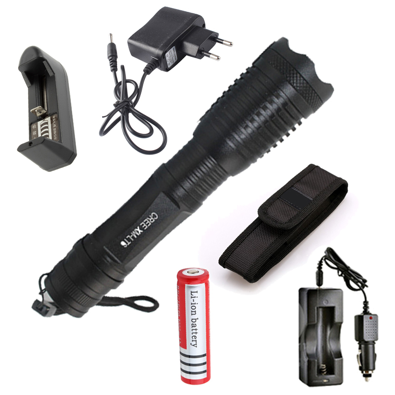 Zoomable Led flashlight CREE XML T6 5 Modes LED Torch Focus LED Torch Waterproof + 18650 battery AC Car charger Pouch Holster led cree q5 free shipping waterproof led flashlight lamp torch adjustable focus zoomable 600lm for 18650 rechargeable battery