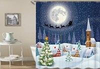Kiwiberry 長いメリークリスマス浴室のシャワーカーテンおかしい生地防水と防かび浴室カーテンリドー Licorne